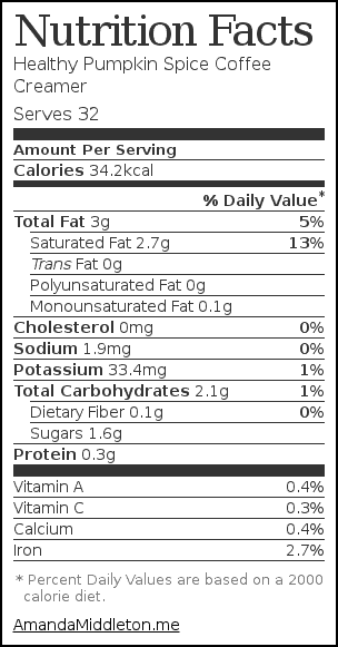 Nutrition label for Healthy Pumpkin Spice Coffee Creamer