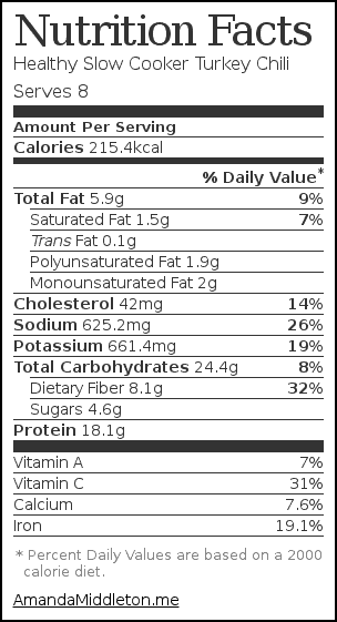 Nutrition label for Healthy Slow Cooker Turkey Chili
